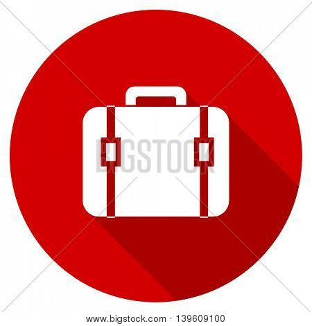 bag red vector icon, circle flat design internet button, web and mobile app illustration
