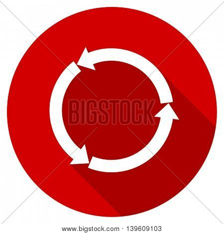 refresh red vector icon, circle flat design internet button, web and mobile app illustration