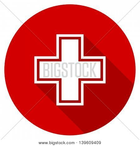 pharmacy red vector icon, circle flat design internet button, web and mobile app illustration