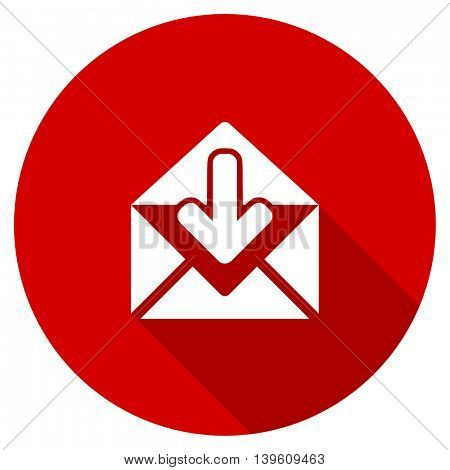 email red vector icon, circle flat design internet button, web and mobile app illustration