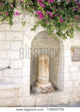 The column of Kiss of Judas on mount of olives in Jerusalem Israel