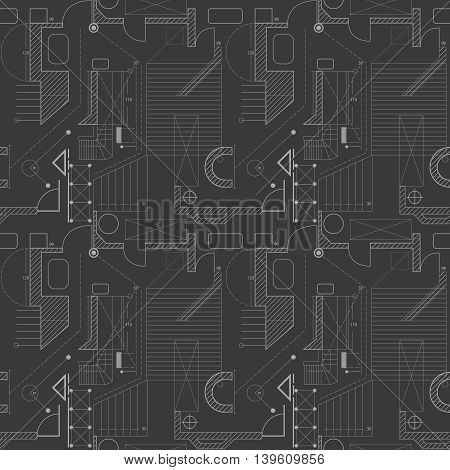 Architecture scheme background. Seamless pattern of abstract building plan. Vector. House plan.