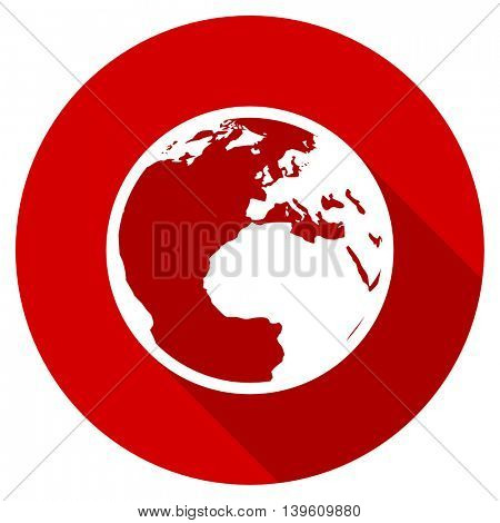 earth red vector icon, circle flat design internet button, web and mobile app illustration