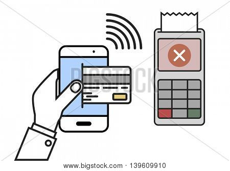 minimalistic illustration of a cellphone next to a pos terminal with declined payment, mobile payment concept, eps10 vector