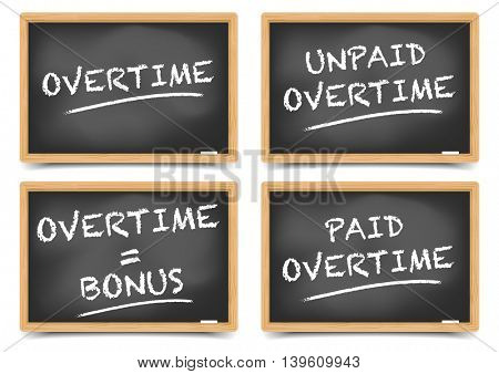 detailed illustration of Blackboards with Overtime concepts, eps10 vector, gradient mesh included