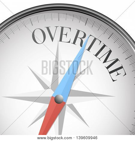 detailed illustration of a compass with Overtime text, eps10 vector