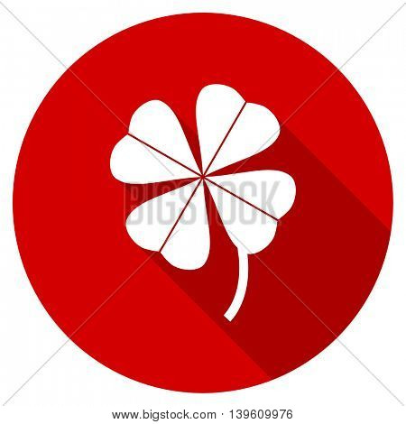 four-leaf clover red vector icon, circle flat design internet button, web and mobile app illustration