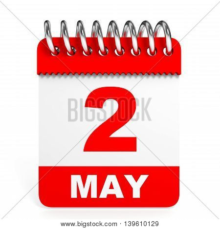 Calendar On White Background. 2 May.