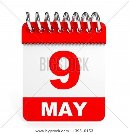 Calendar On White Background. 9 May.
