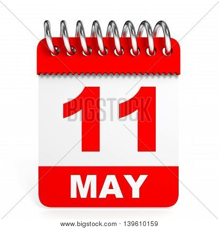Calendar On White Background. 11 May.
