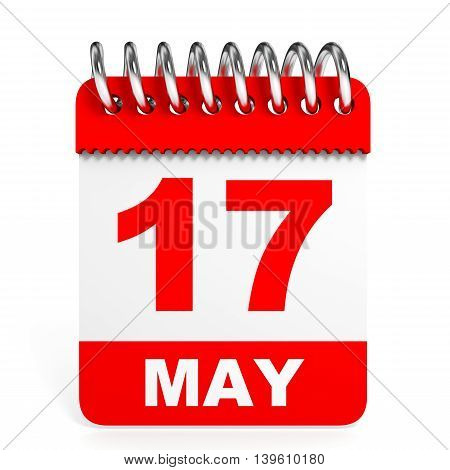 Calendar On White Background. 17May.