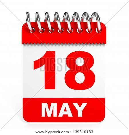 Calendar On White Background. 18 May.