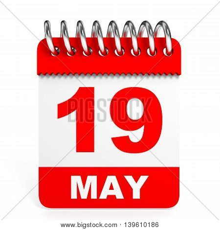 Calendar On White Background. 19 May.