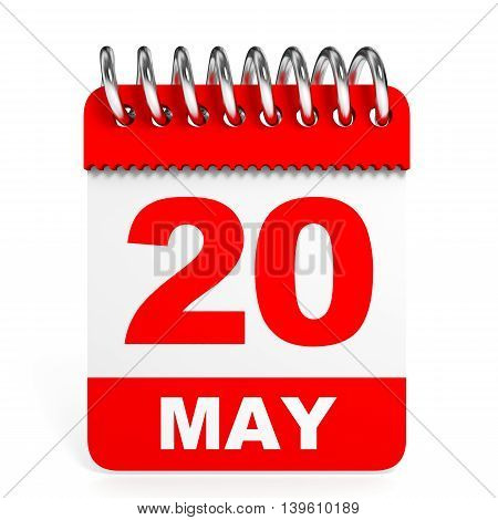 Calendar On White Background. 20 May.