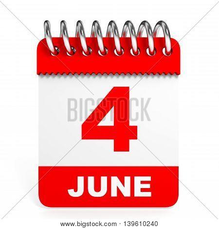 Calendar On White Background. 4 June.