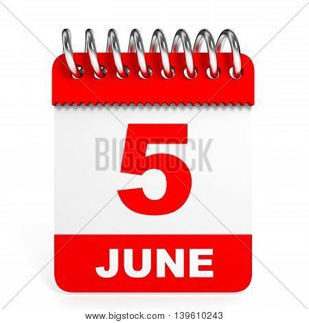 Calendar On White Background. 5 June.