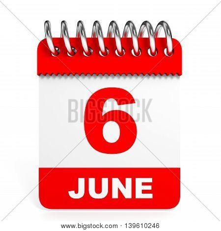 Calendar On White Background. 6 June.