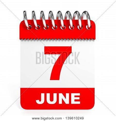 Calendar On White Background. 7 June.