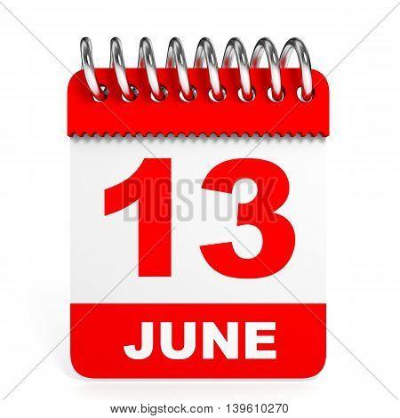Calendar On White Background. 13 June.