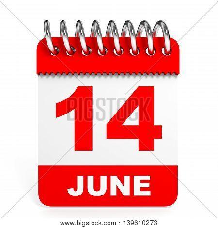 Calendar On White Background. 14 June.