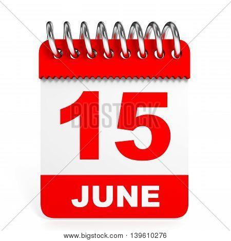 Calendar On White Background. 15 June.
