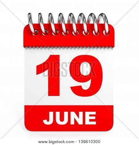 Calendar On White Background. 19 June.
