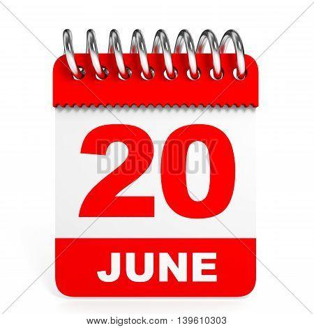 Calendar On White Background. 20 June.
