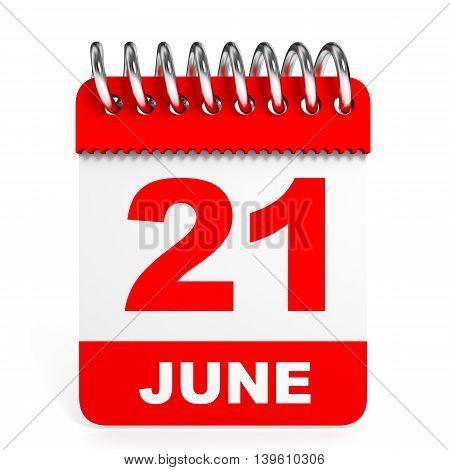 Calendar On White Background. 21 June.