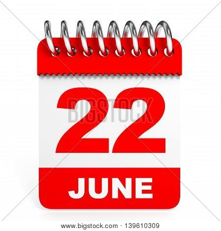 Calendar On White Background. 22 June.