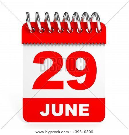 Calendar On White Background. 29 June.