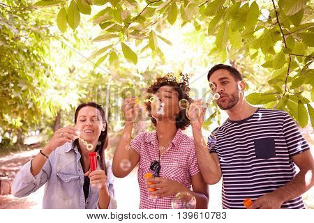 Three Young People Blowing Some Bubbles