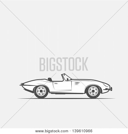 car convertible in black and white grayscale - vector illustration