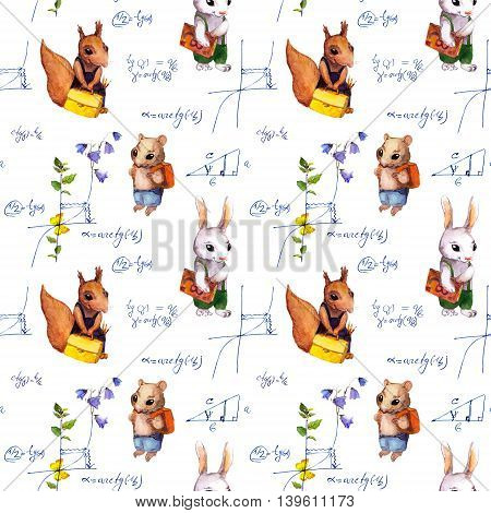 Seamless school pattern with school animals, math formula and flowers. Watercolor