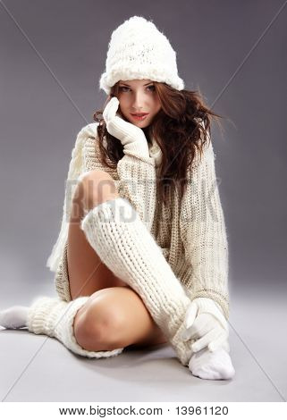 Beautiful winter  fashion model