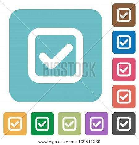 Flat checkbox icons on rounded square color backgrounds.