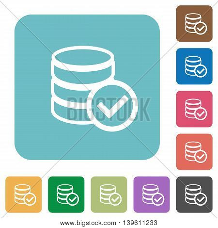 Flat database ok icons on rounded square color backgrounds.