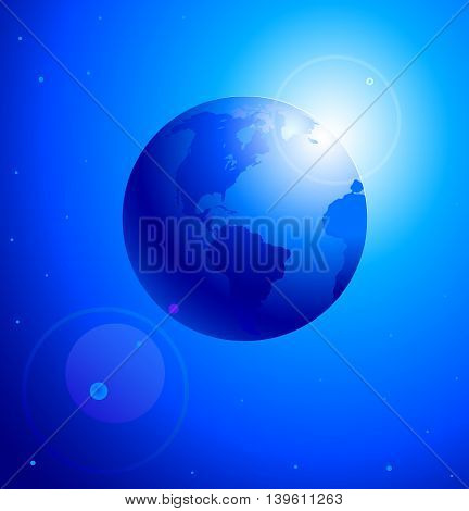Sunrise on planet Earth. Morning on a planet. Vector illustration