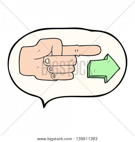 freehand drawn speech bubble cartoon pointing hand with arrow