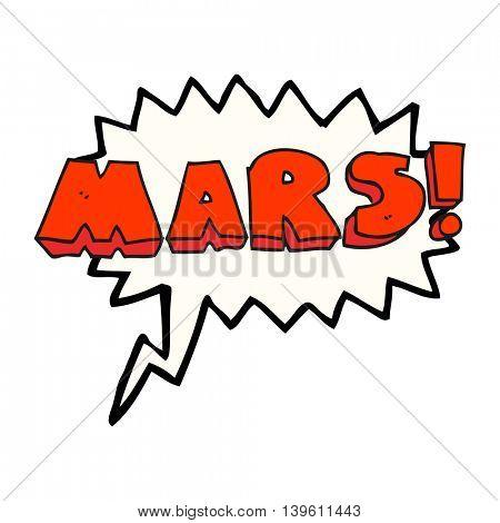 freehand drawn speech bubble cartoon Mars text symbol