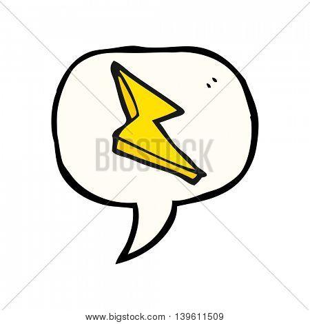 freehand drawn speech bubble cartoon lightning bolt doodle