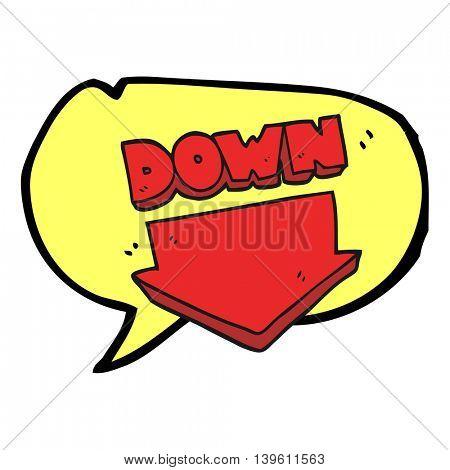 freehand drawn speech bubble cartoon down arrow symbol