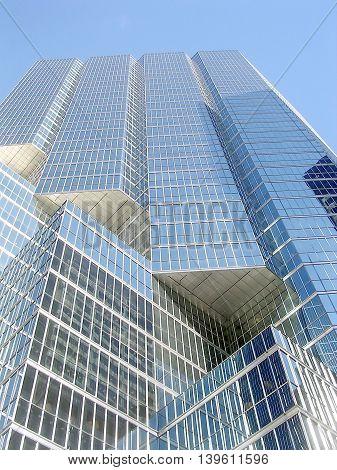 Blue skyscraper in King Street of Toronto Ontario Canada