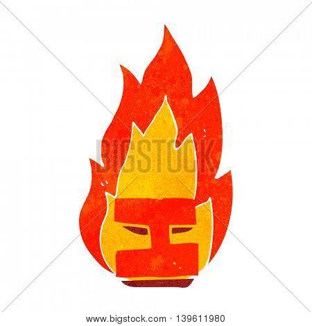 freehand drawn retro cartoon flaming letter I