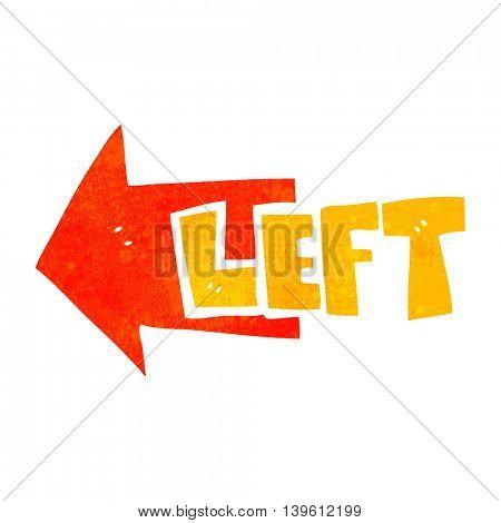 freehand retro cartoon left symbol