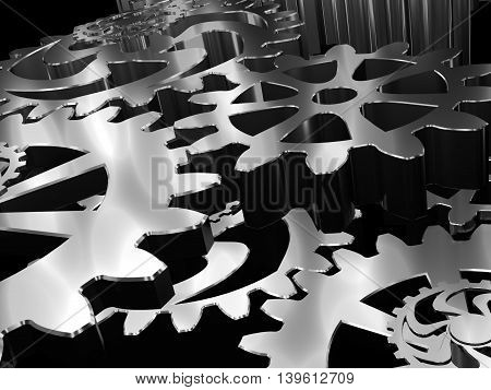 Gears and cogs macro, black toned. 3D Rendered