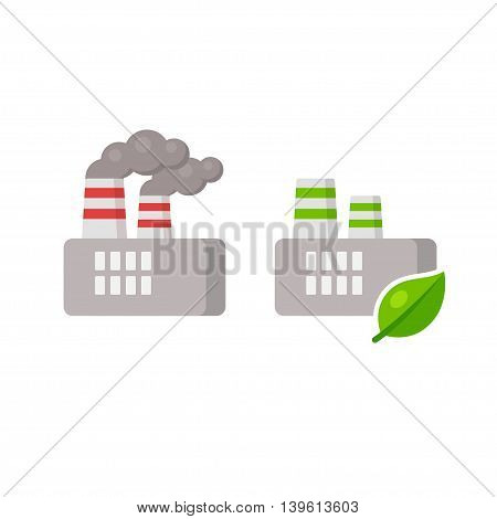 Isolated factory icon. Traditional plant with smoke pollution and enviromentally friendly factory with green leaf. Ecology industry illustration.