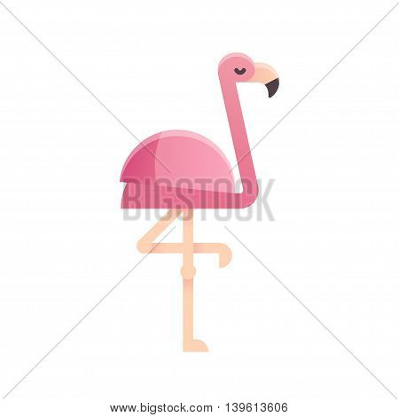 Pink flamingo in modern flat geometric style. Isolated vector illustration.