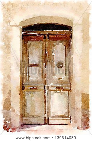 Digital watercolor painting of a classic old wooden double door in the Pyrenees in Spain.