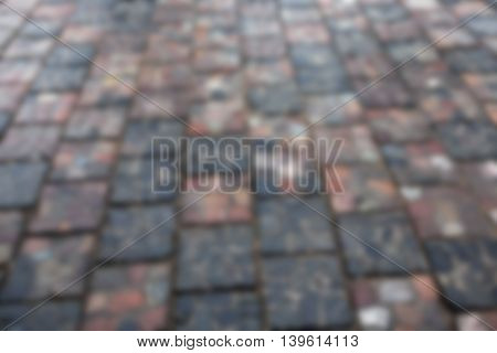 old road made of stone, photographed close-up, defocused