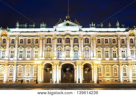 View of Hermitage Museum at night St.Petersburg. One of the largest and most significant art and historical museums in Russia and abroad.